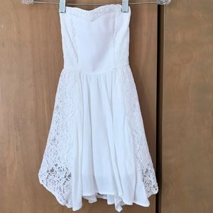 Strapless white linen and lace dress; size 8